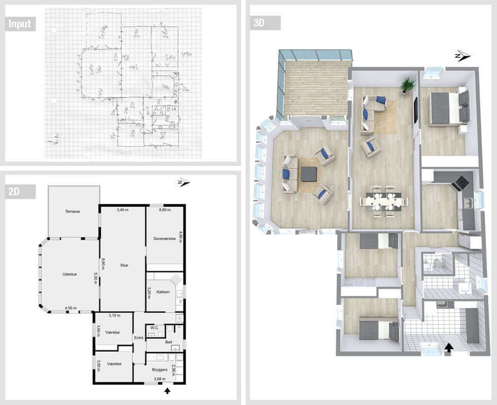 Outsource real estate floor plan conversion services to for 3d floor plan free